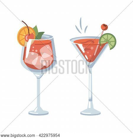 Alcoholic Or Non-alcoholic Drinks With Ice And Slices Of Orange And Lime. Margarita Tasty Beverage W