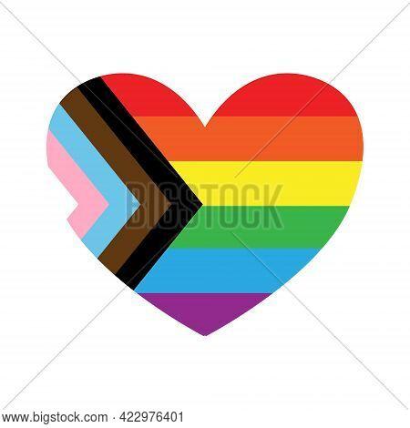 Vector Flat Cartoon Lgbt Lgbtq New Rainbow Flag Heart Isolated On White Background