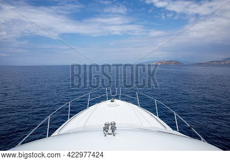 Summer Sunny Day Traveling By Yacht In The Saronic Gulf, Greece.