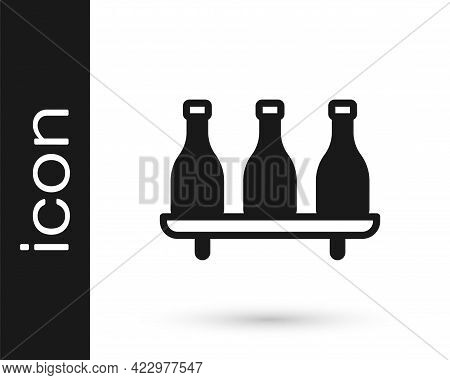 Black Bottle Of Wine Icon Isolated On White Background. Wine Varieties. Vector