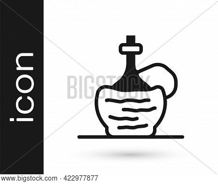 Black Wine In Italian Fiasco Bottle Icon Isolated On White Background. Wine Bottle In A Rattan Stand