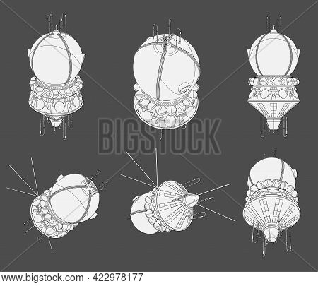 Vector Set With Round Spaceship Satellite Soyuz. Collection With 3d Views Old Spaceship. Coloring Pa