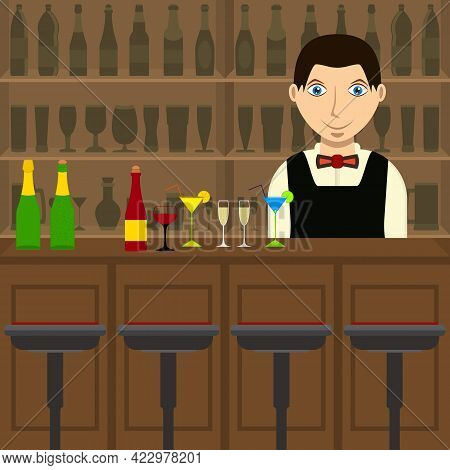 Bar Inside With Barman And Bar Counter. Bartender With Glasses Of Wine And Cocktails. Drinking Estab
