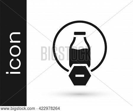 Black Lactose Free Icon Isolated On White Background. Vector