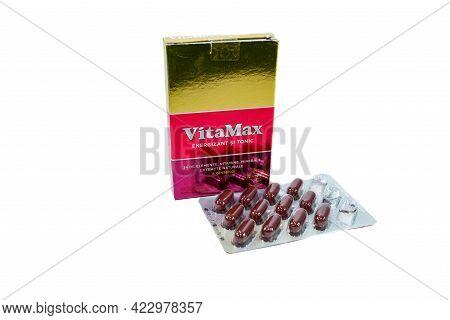 Miercurea Ciuc, Romania- 07 June 2021: Opened Package Of Vitamax Multivitamin On White Background.