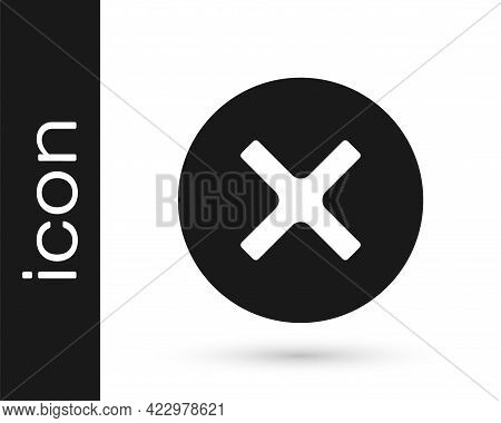 Black X Mark, Cross In Circle Icon Isolated On White Background. Check Cross Mark Icon. Vector