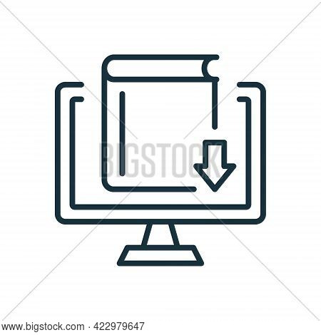 Online Library Line Icon. Internet And Distance Education. Download Ebook Concept. Elearning Resourc