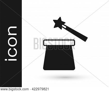Black Magic Hat And Wand Icon Isolated On White Background. Magic Trick. Mystery Entertainment Conce