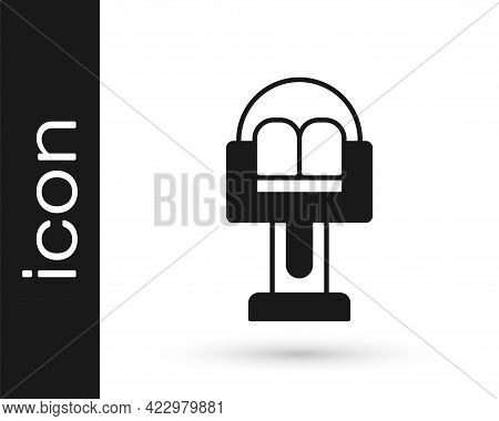 Black Attraction Carousel Icon Isolated On White Background. Amusement Park. Childrens Entertainment