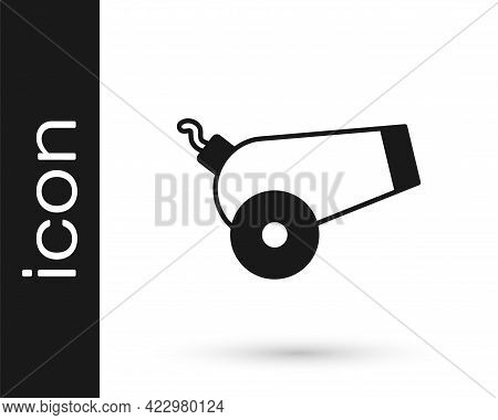 Black Cannon Icon Isolated On White Background. Vector