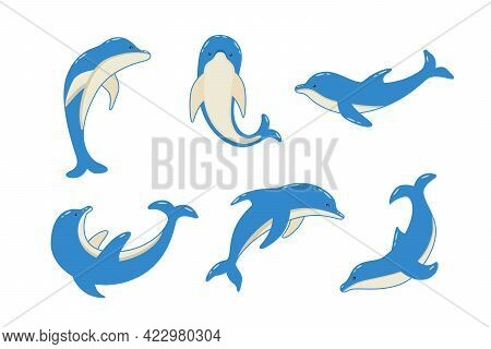 Set Of Cartoon Dolphins In Different Poses, Vector Illustration Of Marine Animals. Painted Dolphins