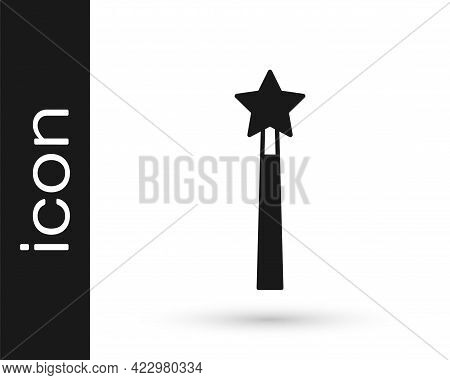 Black Magic Wand Icon Isolated On White Background. Star Shape Magic Accessory. Magical Power. Vecto