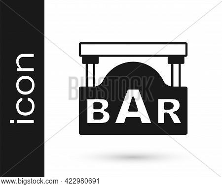 Black Street Signboard With Inscription Bar Icon Isolated On White Background. Suitable For Advertis