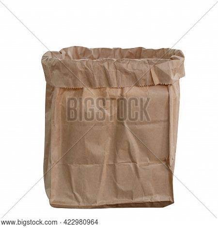 Paper Bag Brown Blank In Front View, Kraft Paper Bag Packaging For Delivery, Open Bag Paper Isolated