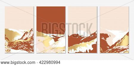Gold Mountain Wall Art Vector Set. Earth Tones Landscapes Backgrounds Set With Hill. Terracotta, Pin