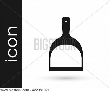 Black Dustpan Icon Isolated On White Background. Cleaning Scoop Services. Vector