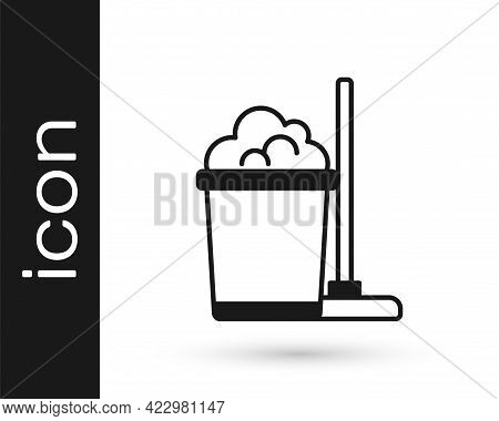 Black Mop And Bucket Icon Isolated On White Background. Cleaning Service Concept. Vector