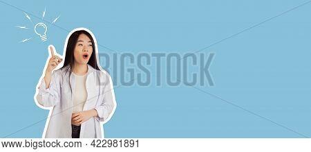 Young Beautiful Woman Having An Idea. Bulb Lamp And Eureka Concept.