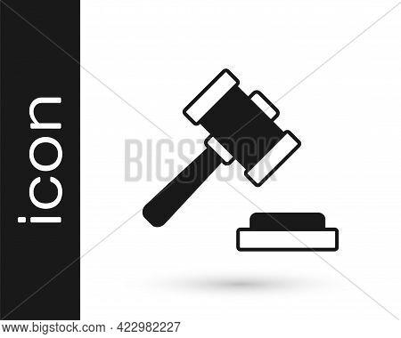 Black Judge Gavel Icon Isolated On White Background. Gavel For Adjudication Of Sentences And Bills,