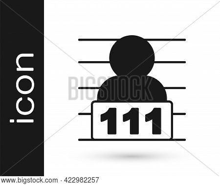 Black Suspect Criminal Icon Isolated On White Background. The Criminal In Prison, Suspected Near The