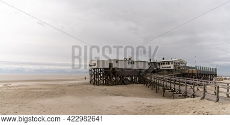 Sankt Peter-ording, Germany - 26 May, 2021: View Of The Historic Arche Noah Restaurant On The Wadden