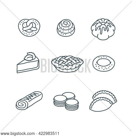 Different Pastry Items. Sweet Dessert Food. Simple Linear Icons Of Pie, Cake, Pretzel, Bun, Roll, Ch