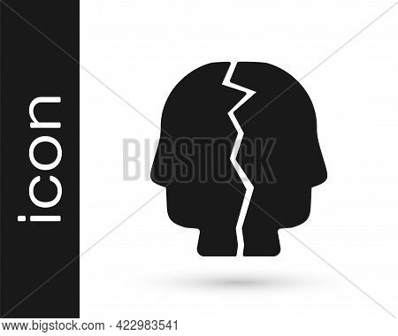 Black Bipolar Disorder Icon Isolated On White Background. Vector