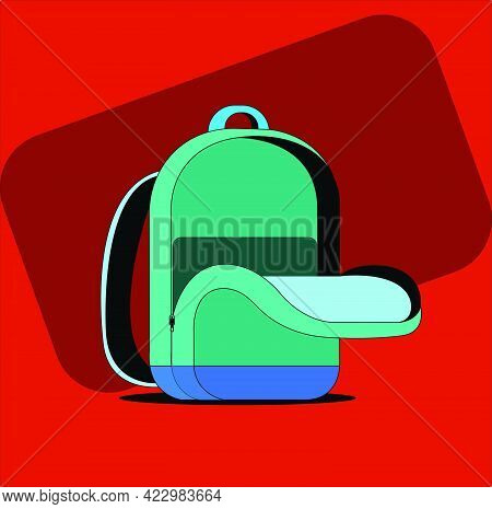 Green And Blue School Bag, Vector Icon, Back Pack Isolated On Orange Background