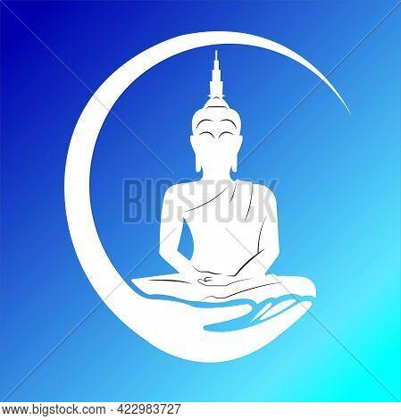 Buddha  Wall Art Illustration The Symbol Of Hinduism, Buddhism, Spirituality And Enlightenment.