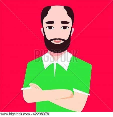 Comic Avatar Bald Man With A Full Brawn Beard And Green Shirt