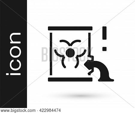 Black Radioactive Waste In Barrel Icon Isolated On White Background. Barrel With Radioactive And Tox