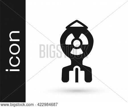 Black Nuclear Bomb Icon Isolated On White Background. Rocket Bomb Flies Down. Vector