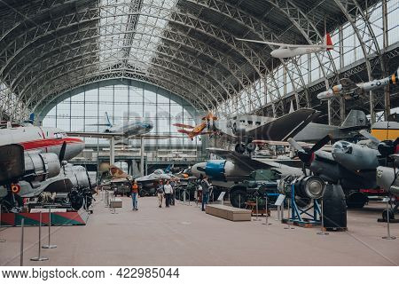 Brussels, Belgium - August 17, 2019: Many Old Military Aircrafts Inside Aviation Hall Of The Royal M