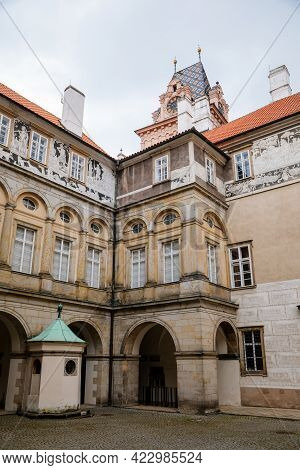 Gothic Castle Brandys Nad Labem, Renaissance Palace, Clock Tower, Historical Courtyard With Sgraffit