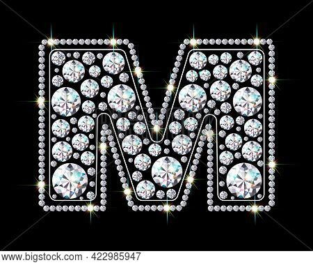 Letter M Made From Sparkling Diamonds Vector Eps 10