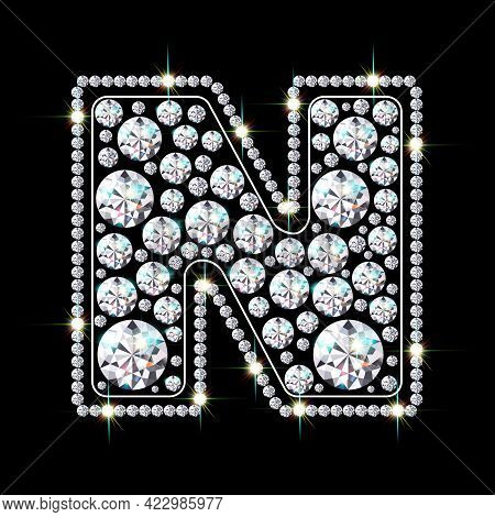 Letter N Made From Sparkling Diamonds Vector Eps 10