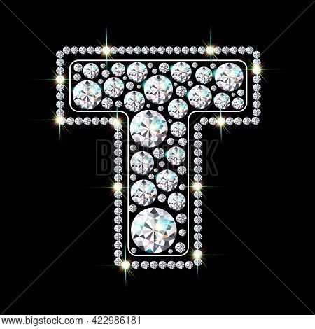 Letter T Made From Sparkling Diamonds Vector Eps 10