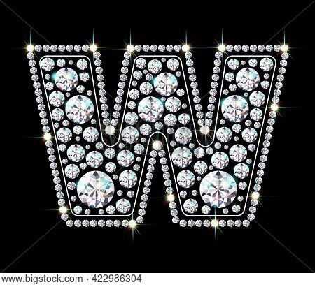Letter W Made From Sparkling Diamonds Vector Eps 10