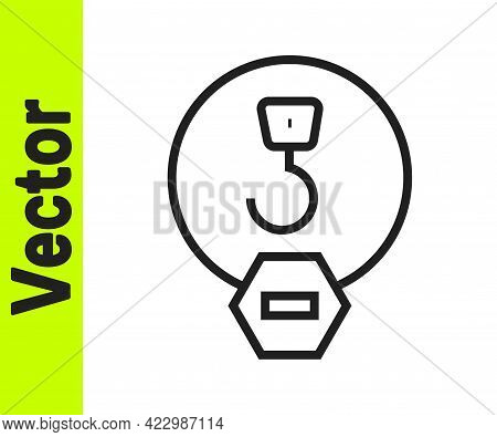 Black Line Industrial Hook Icon Isolated On White Background. Crane Hook Icon. Vector