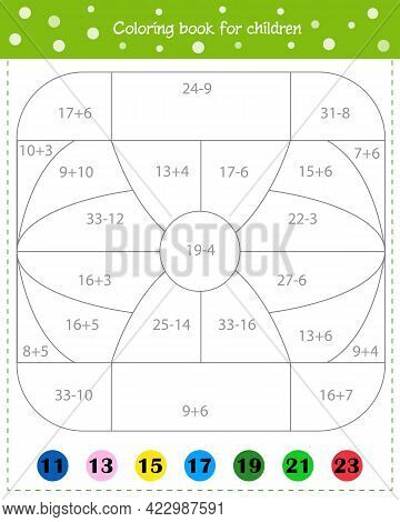 Mathematical Coloring Book For Children. Addition And Subtraction. Worksheet