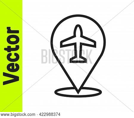 Black Line Plane Icon Isolated On White Background. Flying Airplane Icon. Airliner Sign. Vector