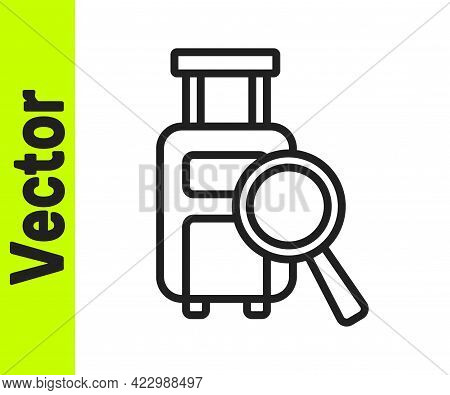 Black Line Airline Service Of Finding Lost Baggage Icon Isolated On White Background. Search Luggage