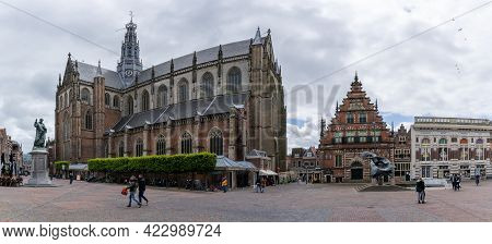Panorama View Of The Busy Grote Markt Square In The Historic City Center Of Haarlem