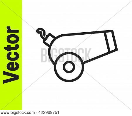 Black Line Cannon Icon Isolated On White Background. Vector