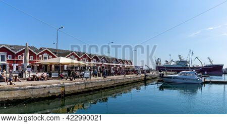 Seafood Restaurants At The Marina And Harbor Of Skagen On A Beautiful Sunny Summer Dayy