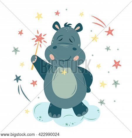 Nursery Vector Illustration In Cartoon Style. Hippo Wizard With A Magic Wand And Stars. For Baby Roo