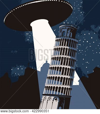 Vector Banner On The Theme Of Aliens Attack. An Illustration Of A Large Flying Saucer Over A Night C