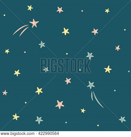 Simple Seamless Pattern With Stars And Comets On Dark Blue Background. Cosmos Theme. For Baby Room,