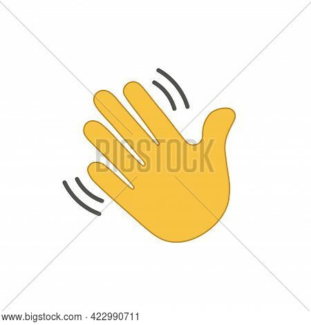 Clubhouse Icon With Slogan Drop-in Audio. Vector Icon Symbolizing Gesture Wave Hand, Hello, Hi, Bye,
