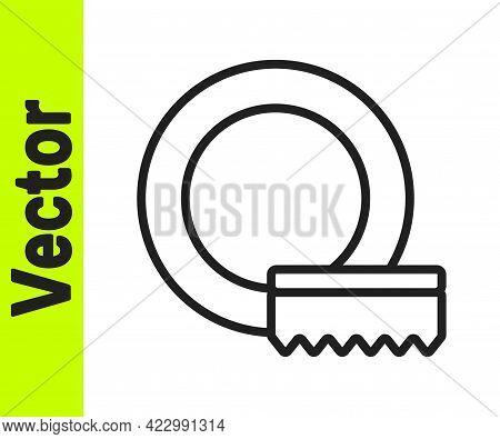 Black Line Washing Dishes Icon Isolated On White Background. Cleaning Dishes Icon. Dishwasher Sign.